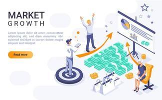 página de destino isométrica do crescimento do mercado vetor