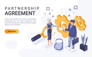 página de destino isométrica do acordo de parceria vetor