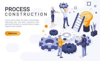 página de destino isométrica de construção de processo vetor