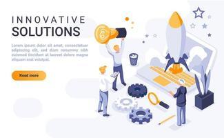 soluções inovadoras página de destino isométrica vetor