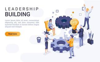 página inicial isométrica de construção de liderança vetor
