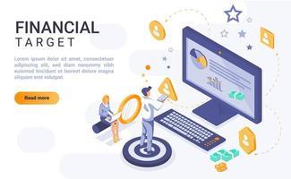página de destino isométrica de destino financeiro vetor