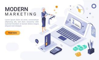 página de destino isométrica de marketing moderno vetor