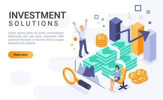 página de destino isométrica de soluções de investimento vetor