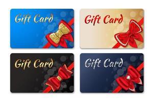 conjunto de cartão-presente com arco vermelho vetor