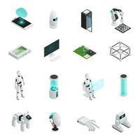 conjunto de ícones de inteligência artificial isométrica