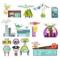 conjunto de ícones de drone de desenho animado vetor