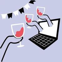 laptop com as mãos segurando copos vetor