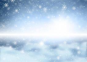 flocos de neve de natal em fundo desfocado de inverno vetor