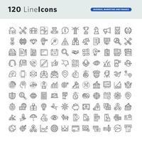 conjunto de ícones de linha para negócios, marketing e finanças vetor
