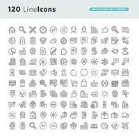 conjunto de ícones de linha para rede social e e-commerce vetor