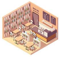 interior isométrico de livraria ou café-biblioteca vetor