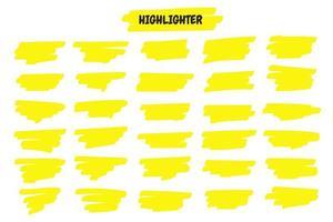 conjunto de traços de caneta marca-texto amarelo desenhado à mão vetor