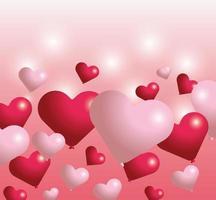 decoração de balões de coração para o dia dos namorados vetor