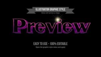 roxo e rosa elegante traço brilhante efeito de texto de espaço preto 3D vetor