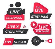 conjunto de símbolos vermelho e preto de transmissão ao vivo