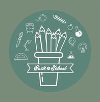 xícara de lápis e ícones de escola