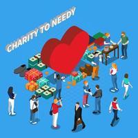 voluntários de caridade pessoas composição isométrica vetor