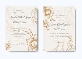 conjunto de convite de casamento floral elegante vetor