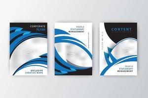 conjunto de coleção de flyer de empresa de design de curva azul vetor