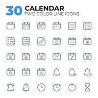 conjunto de ícones de data e hora do calendário
