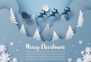 modelo de cartão postal de natal e inverno com corte de papel