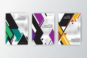 Conjunto de modelos de formato de ângulo para relatório anual de 2020 vetor