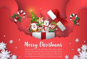 modelo de cartão postal de natal com papai noel e amigos vetor