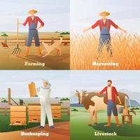 conjunto de agricultor jardineiro vetor
