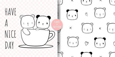 desenho de urso fofo doodle cartão e padrão vetor