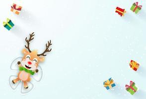 banner de natal com renas fazendo um anjo de neve