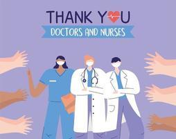 médicos, enfermeira e mãos de saudação vetor