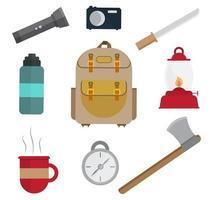 conjunto de equipamentos de acampamento e viagem vetor