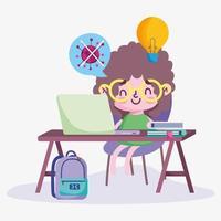 educação online, menino estudando no computador vetor