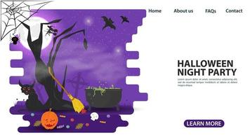 árvore de halloween e desenho de página da web do caldeirão de bruxa vetor