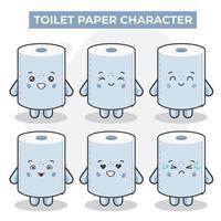 personagens fofinhos de papel higiênico com várias expressões vetor