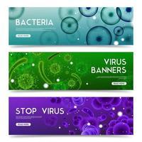 banners horizontais de vírus realistas vetor
