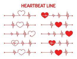 conjunto de gráfico de freqüência cardíaca vermelho exercício vetor