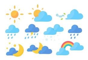 ícones de previsão do tempo em branco vetor