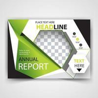 design de formato verde de folheto corporativo vetor