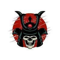 vestuário de crânio de shogun ou design de pôster vetor
