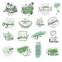 sinais de comida orgânica vetor
