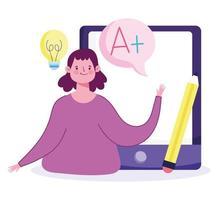 educação online com aluna inteligente com tablet vetor