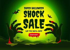 pôster de venda de halloween com mãos de zumbis vetor