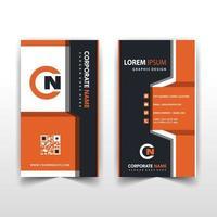 modelo de cartão de visita vertical laranja frente e verso vetor
