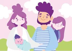 mãe, pai, bebê e filha ao ar livre