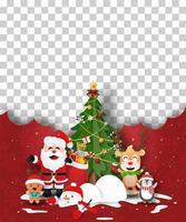 modelo de pôster de natal com papai noel e amigos