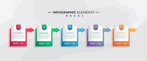 etiqueta colorida e elementos de infográfico de seta para negócios