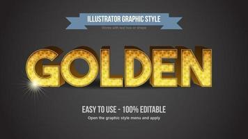 efeito de texto editável de luxo com padrão dourado pontilhado vetor