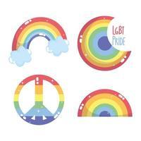 feliz dia do orgulho, ícone da comunidade lgbt arco-íris, conjunto de emblemas
